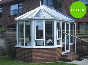 Before warm roof conservatory has been fitted