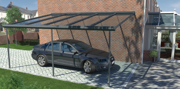 Pergola being used as a car port